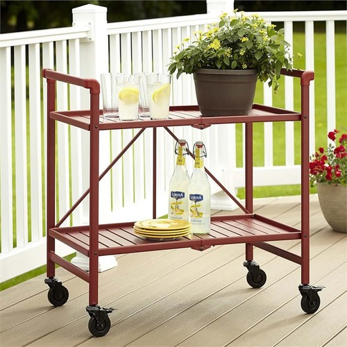 Cosco SMARTFOLD Folding Serving Bar Cart in Ruby Red