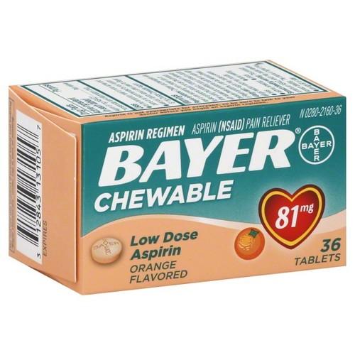 Bayer Aspirin, Low Dose, 81 mg, Chewable, Tablets, Orange Flavored, 36 tablets