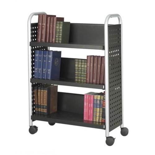 Scoot Single Sided 3 Shelf Book Cart in Black Finish