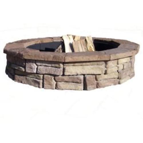 44 in. Random Stone Brown Round Fire Pit Kit