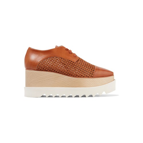 Faux woven and smooth leather platform brogues