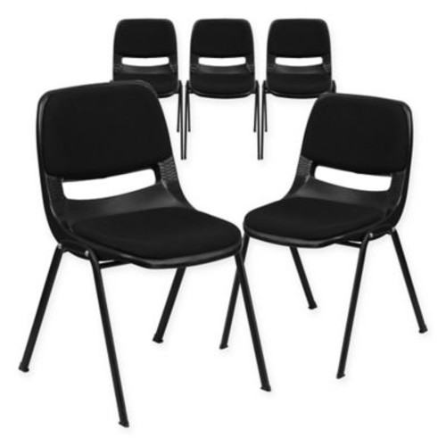 Flash Furniture Student Stacking Chairs in Black (Set of 5)