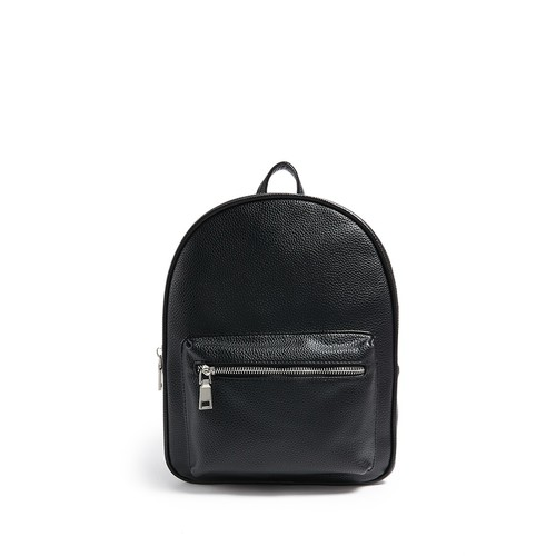 Pebbled Faux Leather Dual-Zip Backpack