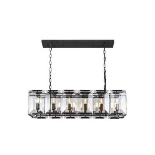 Elegant Lighting Monaco 12-Light Flat Black Matte Glass Crystal Clear Pendant