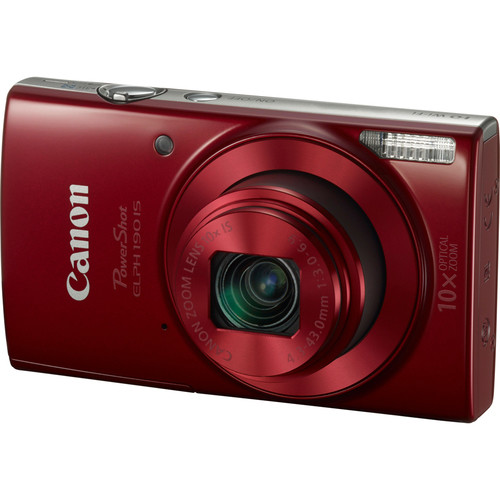 Canon PowerShot ELPH 190 IS Digital Camera with 10x Optical Zoom and Wi-Fi - Red