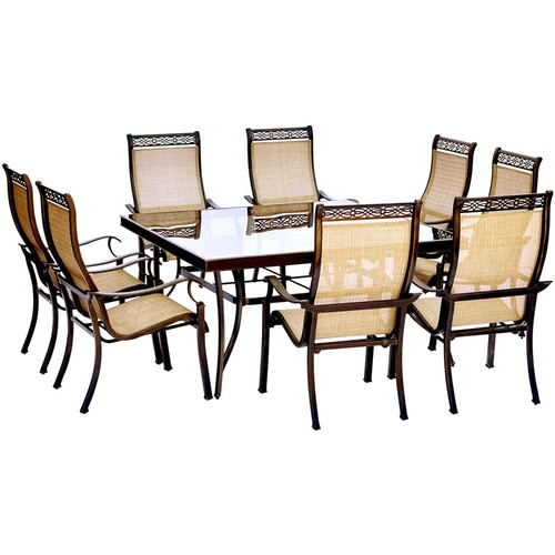 Hanover Monaco 9-Piece Aluminum Outdoor Dining Set with Square Glass-Top Table and Contoured Sling Stationary Chairs