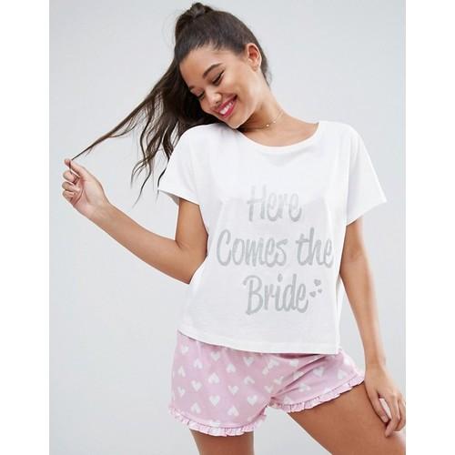 ASOS BRIDAL Here Comes The Bride Tee & Short Pajama Set