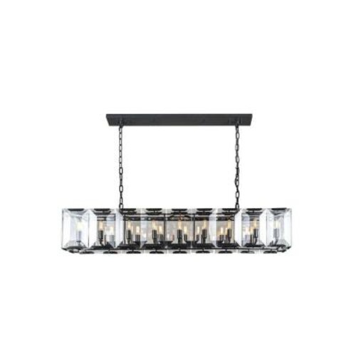 Elegant Lighting Monaco 18-Light Flat Black Matte Glass Crystal Clear Pendant