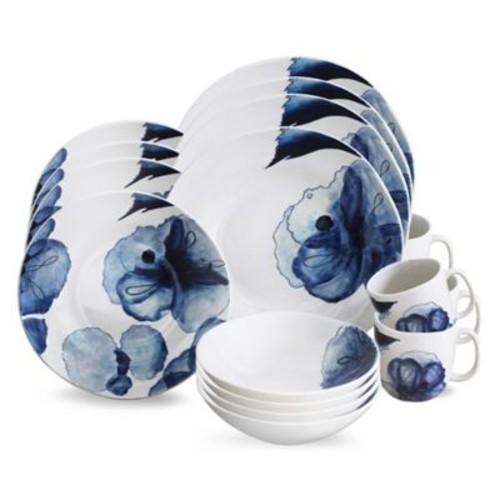 Baum Lapis Bloom 16-Piece Dinnerware Set in White/Blue