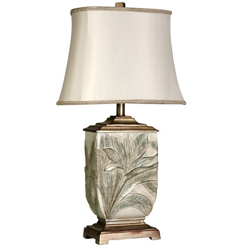 Bellevue Leaf-embossed Brasstone Table Lamp