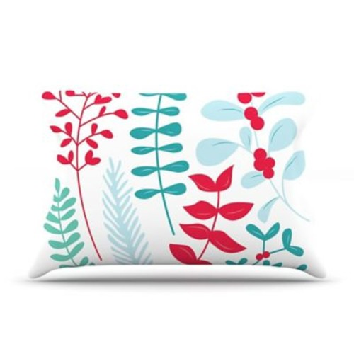 East Urban Home 'Deck The Hollies' Pillow Case; Red/Teal