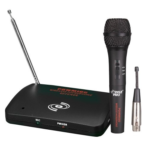 Dual Function Dynamic Microphone System - UHF Wireless/Wired Handheld Audio Mic and Receiver Set with Mixed XLR Output - Great for Karaoke PA and Dj Party - Pyle Pro...