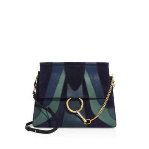 Medium Faye Patchwork Leather & Suede Shoulder Bag