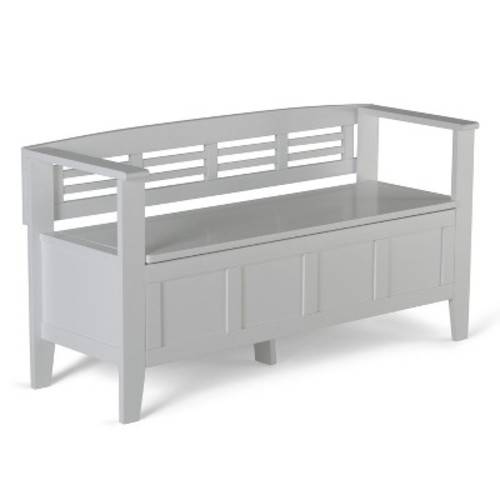 Simpli Home - Adams Entryway Storage Bench - White