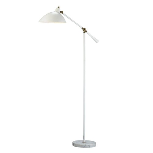 Adesso Peggy 59-1/2 in. White Floor Lamp with Marble Base