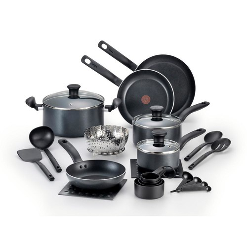 T-Fal Initiatives 18-Piece Black Cookware Set with Lids