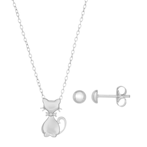 Lulabelle Kids' Sterling Silver Cat Pendant & Stud Earring Set