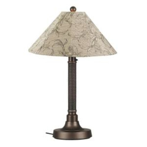 Patio Living Concepts Bahama Weave 34 in. Dark Mahogany Outdoor Table Lamp with Bessemer Shade