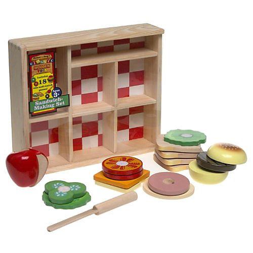 Melissa & Doug Wooden Sandwich-Making Pretend Play Food Set