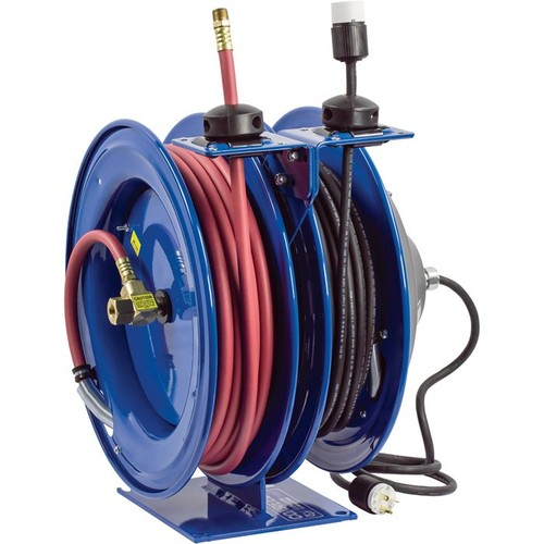 Coxreels Combo Air and Electric Hose Reel  With Fluorescent Angle Light and 3/8in. x 50ft. PVC Hose, Max. 300 PSI, Model# C-L350-5016-D