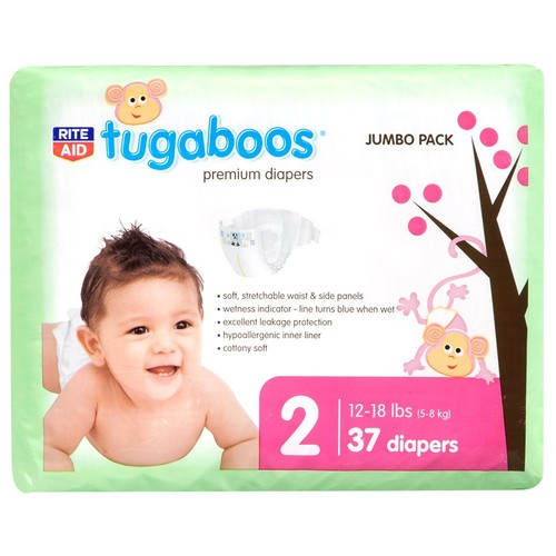 Rite Aid Tugaboos Diapers, Premium, Size 2 (12-18 lbs), Jumbo Pack, 37 diapers
