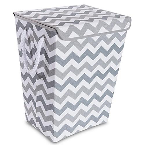 Taylor Madison Designs Chase Chevron Hamper in Grey/White