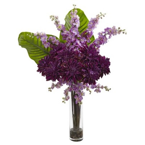 Dahlia, Delphinium, and Travelers Palm Silk Arrangement in Glass Cylinder Vase - Nearly Natural