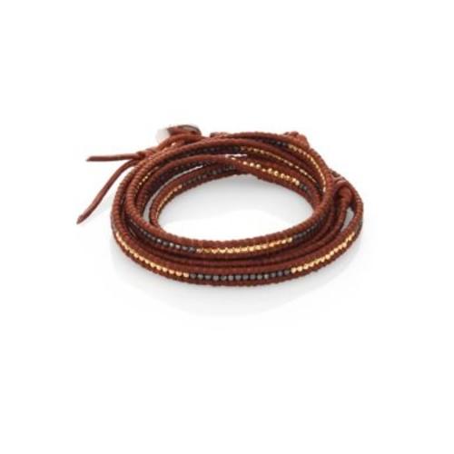 Two-Tone Beaded Leather Multi-Row Wrap Bracelet/Brown