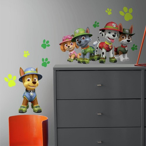 RoomMates 5 in. x 19 in. Paw Patrol Jungle 15-Piece Peel and Stick Giant Wall Decals