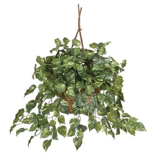 Nearly Natural Pothos Hanging Basket Silk Plant Green