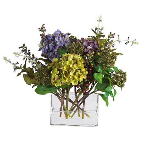 Nearly Natural Mixed Hydrangea with Rectangle Vase Silk Flower Arrangement Multi-Colored