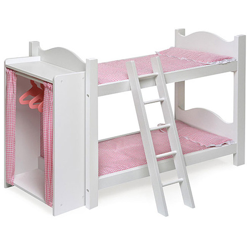 Badger Basket White Doll Bunk Beds with Armoire