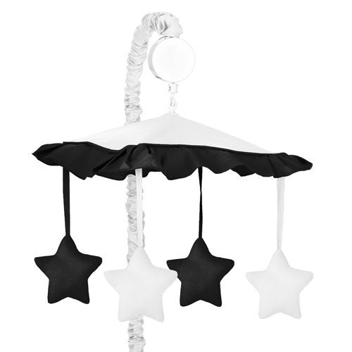 Sweet Jojo Designs White and Black Modern Hotel Musical Baby Crib Mobile
