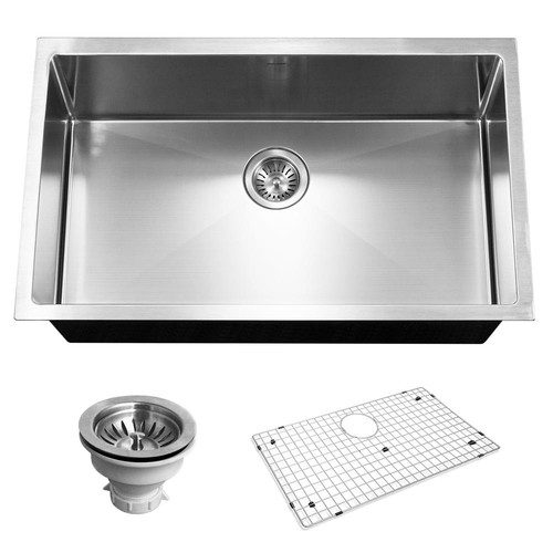 HOUZER Savoir Series Undermount Stainless Steel 32 in. Single Bowl Kitchen Sink, Satin Brushed
