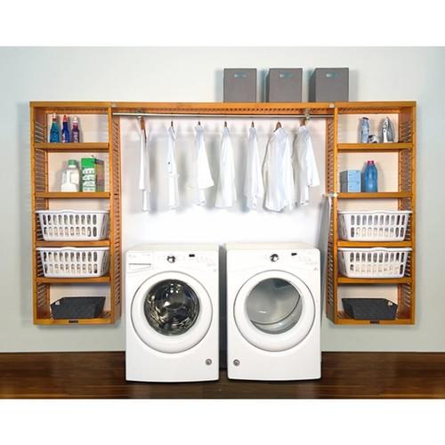 John Louis Home Brown Wood Laundry Organizer - 12in Deep PREMIER Laundry Organizer Honey Maple