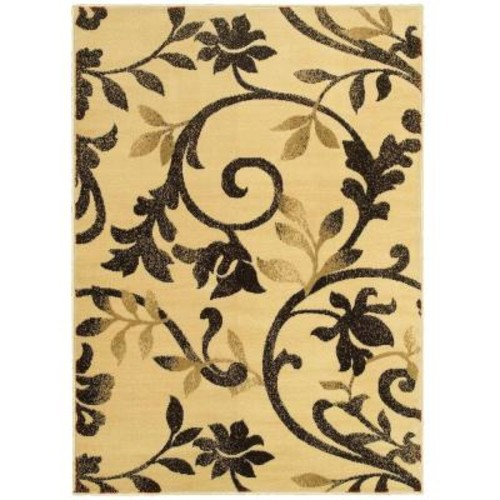 LR Resources Grace Ivory/Brown 5 ft. x 7 ft. Plush Indoor Area Rug