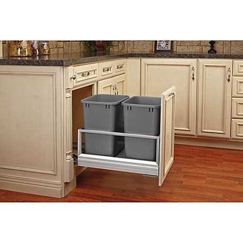Rev-A-Shelf 5149-1527DM-217 Double 27 qt. Brushed Aluminum/Silver Waste Container w/Rev-A-Motion