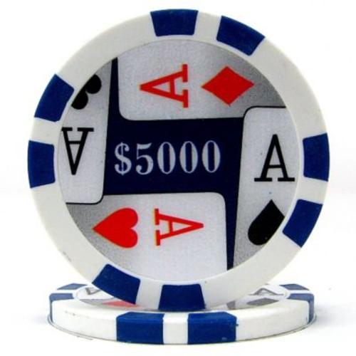 Trademark Poker 11.5g 4 Aces Premium $5000 Poker Chips, Blue, 50/Set