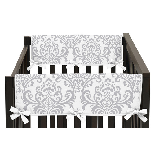 Sweet Jojo Designs Set of 2 Side Crib Rail Guard Covers for Pink and Gray Elizabeth Collection by - Damask Print