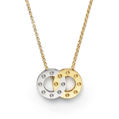 18K Yellow and White Gold Pois Moi Pendant Necklace, 16
