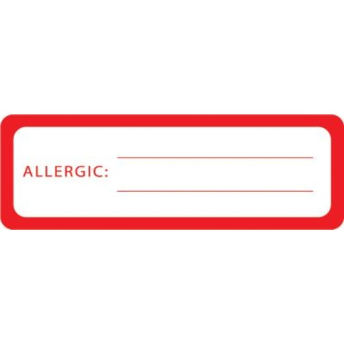 Allergy Warning Medical Labels; Allergic:, Red and White, 1x3
