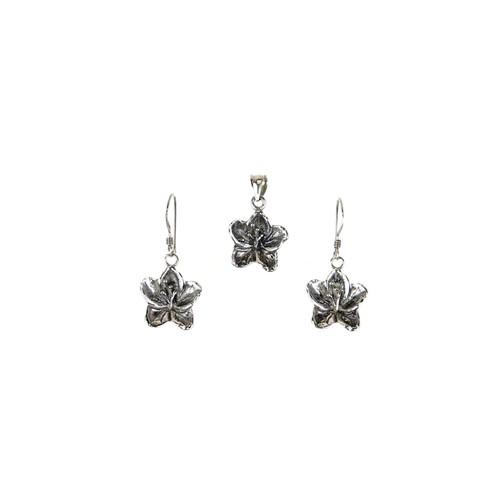Flower Pendant & Earrings Set