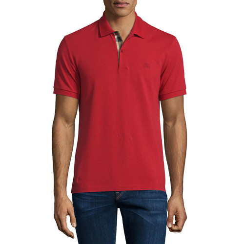 BURBERRY BRIT Short-Sleeve Oxford Polo Shirt, Military Red