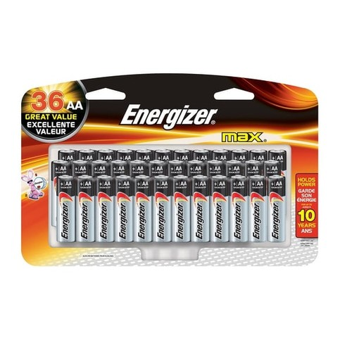 Energizer Max Alkaline AA Battery, Pack of 36