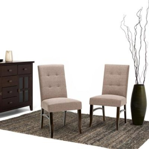 Simpli Home Ezra Fawn Brown Fabric Dining Chair (Set of 2)