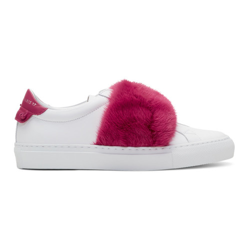 GIVENCHY White & Pink Fur Urban Knots Sneakers