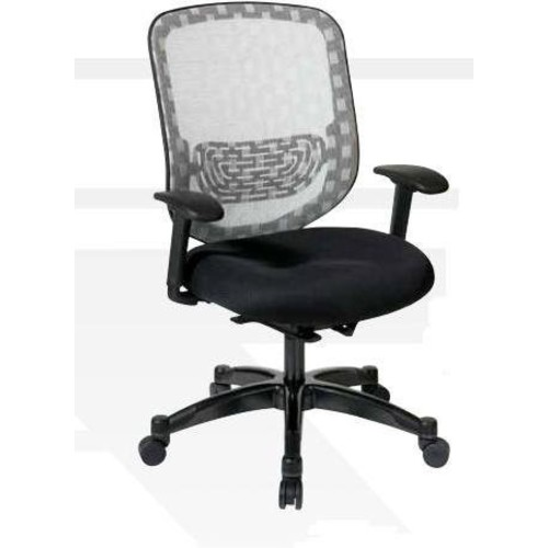 SPACE Seating DuraFlex White Back and Black Padded Mesh Seat, Self Adjusting 4-to-1 Synchro Tilt with Gunmetal Finish Managers Chair [Black]