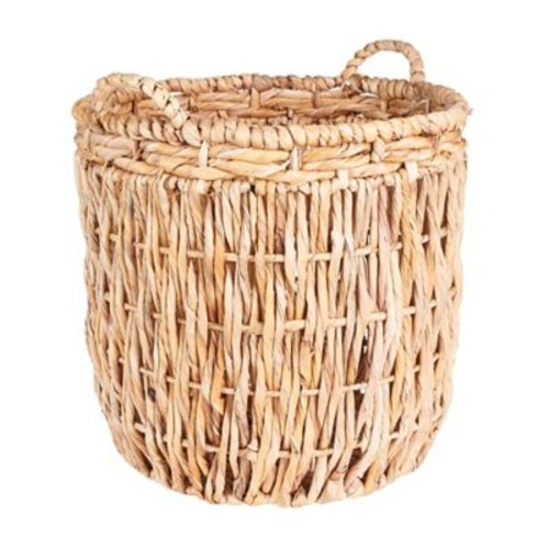 Household Essentials Tall Round Floor Basket with Handles, Natural (ML-6649)