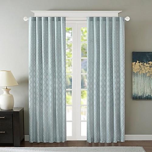 Madison Park Biloxi 84-Inch Rod Pocket/Back Tab Window Curtain Panel in Blue