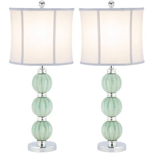 Safavieh Stephanie Globe Lamp with CFL Bulb, Green with Off-White Shade, Set of 2